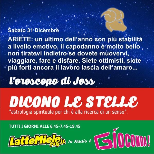 Ariete - Oroscopo di sabato 31 dicembre