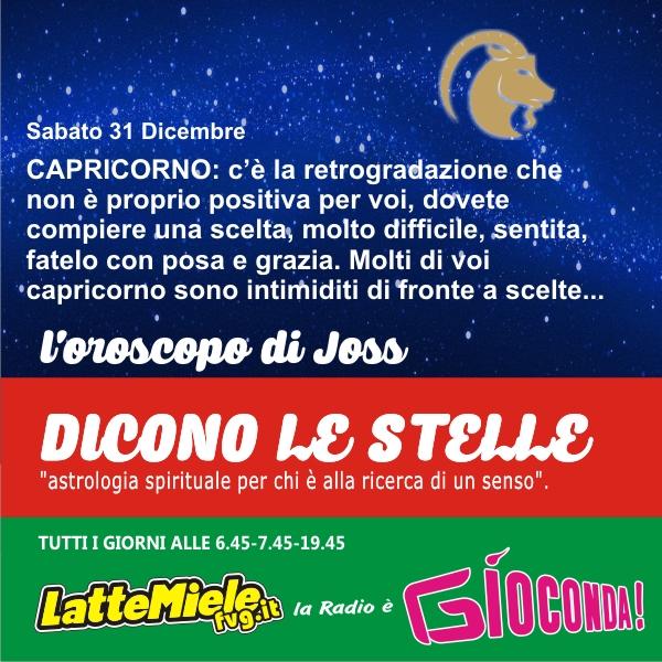 Capricorno - Oroscopo di sabato 31 dicembre